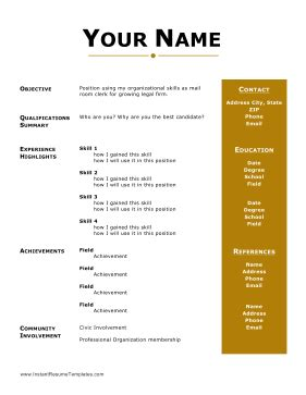 Business resume references format